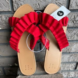 Red Ruffle Sandals Sz 9/9.5